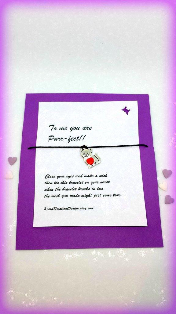 Braccialetto amicizia make a wish con gatto e cuoricino colorato, idea regalo per amanti dei gatti, regalo san valentino