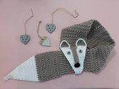 Sciarpa Volpe donna lavorata a mano all'uncinetto - idea regalo natale per amanti degli animali - scaldacollo morbido e divertente per lei