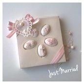 Confettata prima comunione,  confetti decorati,  scatola quadrata in rosa cipria