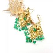 Orecchini pendenti in argento con onice verde idea regalo