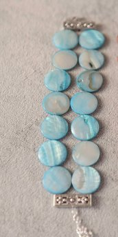 Bracciale madreperla azzurra rotonda, stupendi decori in argento tibetano regolabile