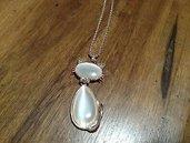 Collana lunga con ciondolo gatto corpo e testa in veri opali bianchi pietre dure chakra cristalloterapia