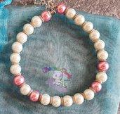 bracciale con perle bianche e rosa