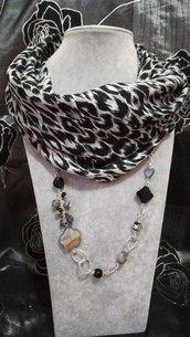 3in1 Foulard + Collana Pietre madreperla Onice agata maculato nero bianco grigio