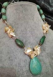 Collana donna girocollo verde scaglie madreperla argento tibetano orecchini placcati