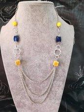 Collana pietre dure blu giallo catena più fili alluminio diamantato