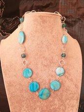 Collana lunga in Agata e madre perla azzurra donna alluminio diamantato