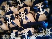 Sacchetti  tema mare bomboniere matrimonio comunione applicazione legno timone ancora blu