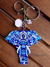 Ciondolo per borsa con Elefante Mandala in legno dipinto a mano