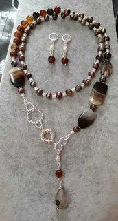 2in1 Collana in  Agata marrone, perle di fiume potato grigio iris. Orecchini argento placcato