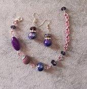 Orecchini + bracciale parure donna viola lilla pietre dure catena alluminio diamantato