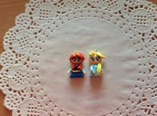 Coppia ciondoli Elsa Anna fimo 2 pezzi.