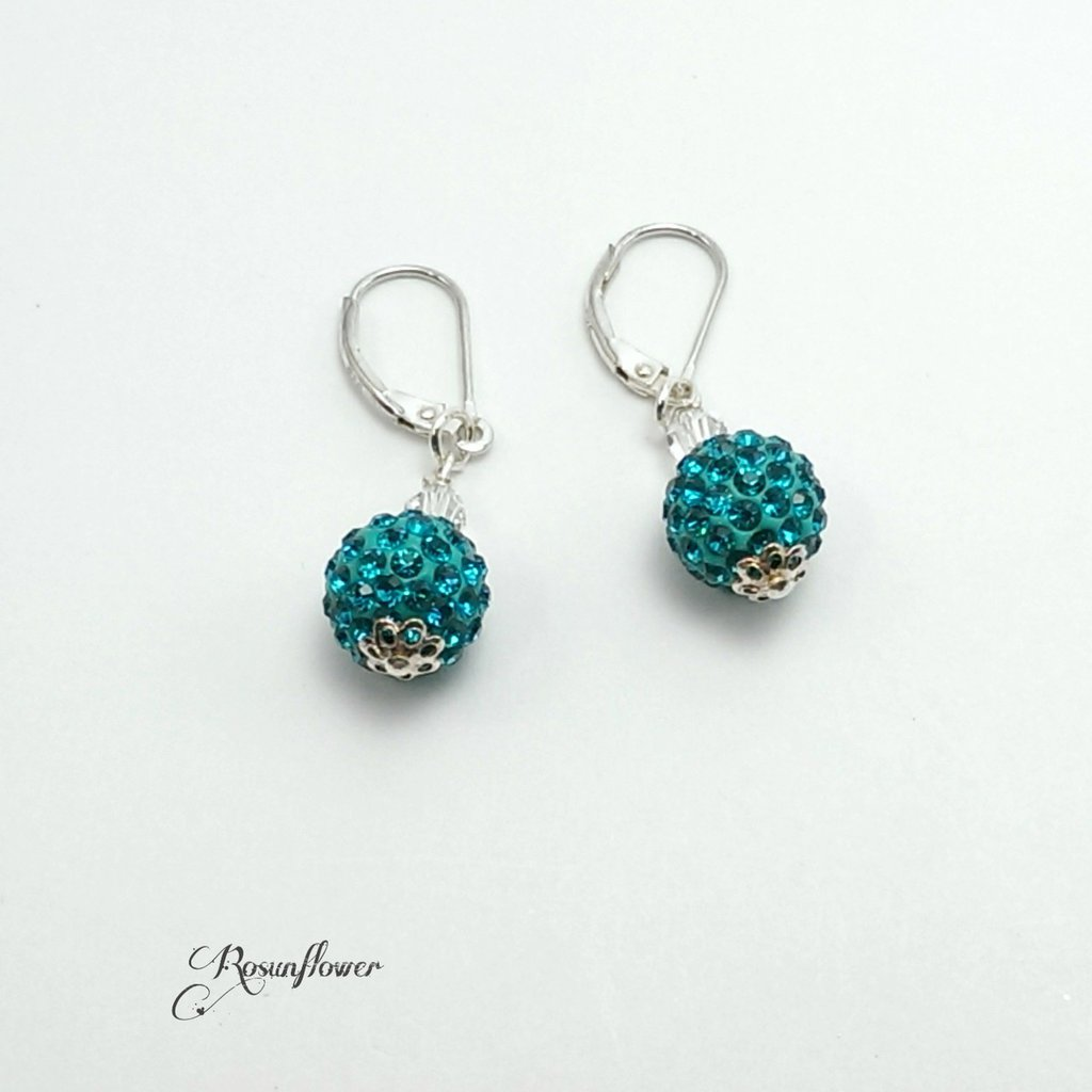 Orecchini con perle pavè blu zircon argento 925, orecchini pendenti per le donne