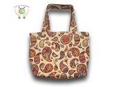 Borsa a spalla shopper bag in tessuto fatta a mano - Beige con fantasie vivaci- pezzo unico - Made in Italy - Dim. 54 cm x 40 cm x 14 cm