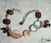 Bracciale Agata Madre perla Ossidiana Mogano marrone alluminio diamantato