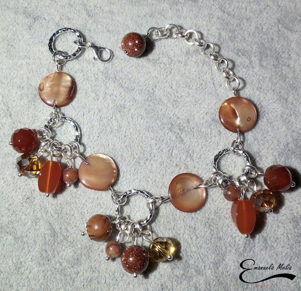 Bracciale Agata sfaccettata Pietra del sole Madre perla marrone alluminio diamantato
