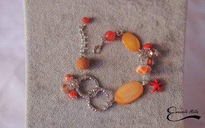 Bracciale regolabile Pietra lavica Madre perla arancione arancio alluminio diamantato