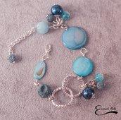 Bracciale regolabile Madre perla pietra lavica azzurra perle cerate alluminio diamantato