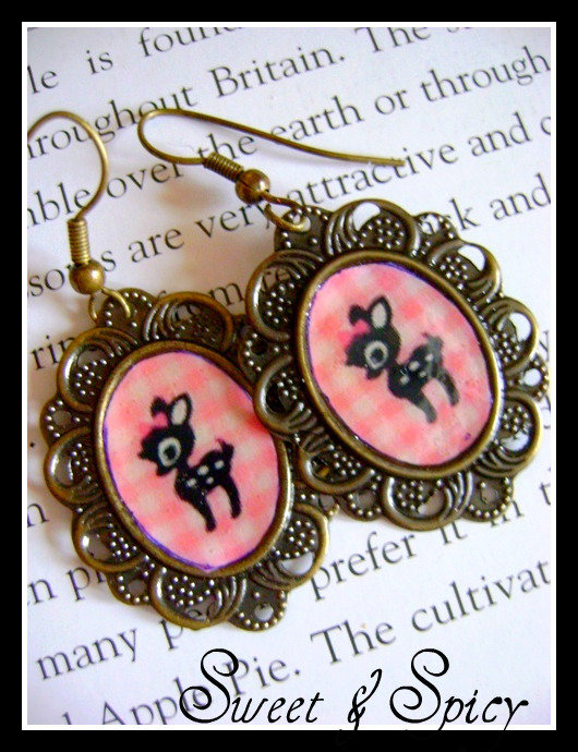SWEET BAMBI KAWAII CAMMEO EARRINGS-ORECCHINI CON CAMMEO DI BAMBI KAWAII