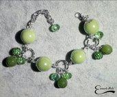 Bracciale verde regolabile Porcellana agata cristalli verdi alluminio diamantato