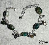 Bracciale verde regolabile con pietre dure naturali catena alluminio diamantato
