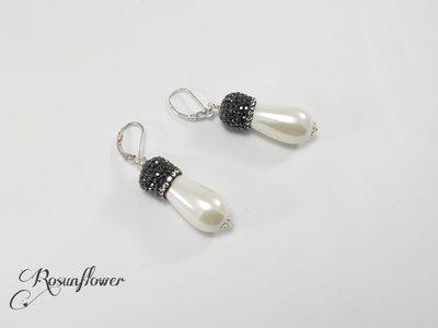 Orecchini con perla bianca, orecchini argento, orecchini vintage , regalo per lei, regalo mamma, gioielli rosunflower