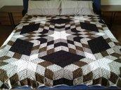 Coperta uncinetto in pura lana merino, per letto matrimoniale pronta per la spedizione