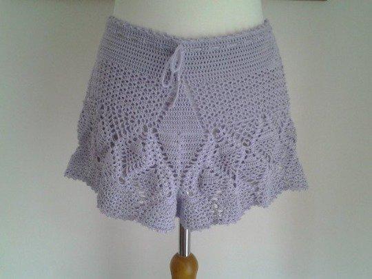 Pantaloncini uncinetto cotone 100% taglia S colore glicine