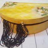 Scatola portaoggetti in legno con fiori in stile shabby chic, Regalo per lei.