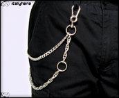 Catena per pantaloni, doppia catena, modello cordina, modello gourmette, colore argento, con anello cromato - 63 cm.