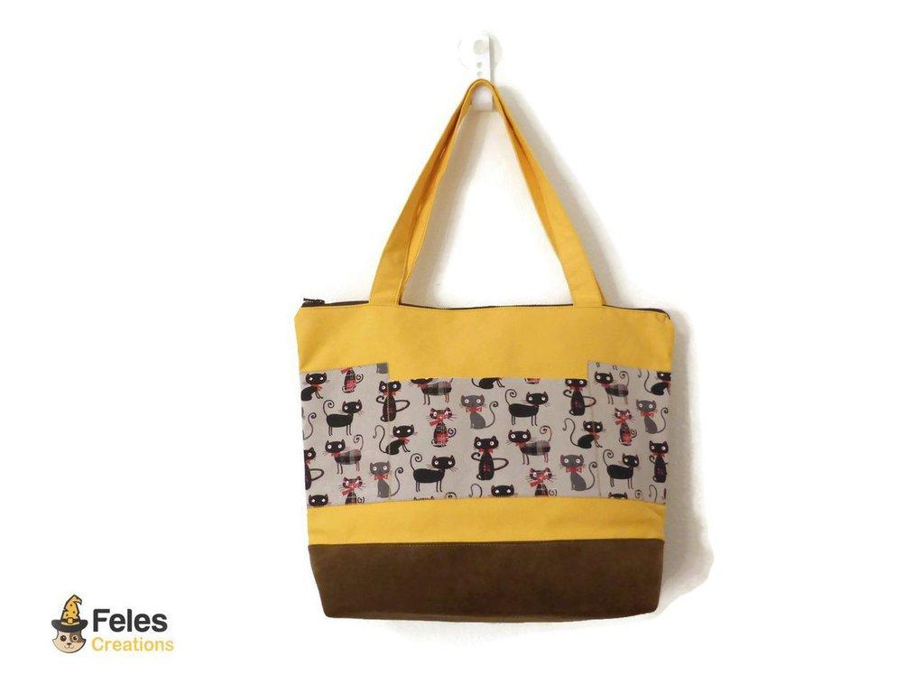5a96bc44b6 Borsa gialla con gatti - Donna - Borse - di Feles Creations | su ...