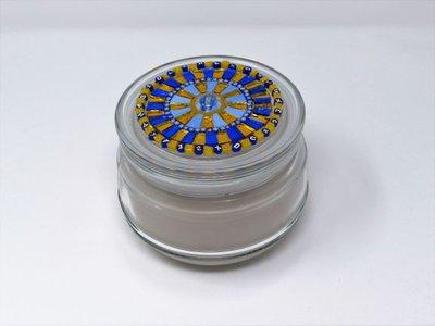 Candela in Vetro con tappo decorato in Mosaico nelle tonalità del Blu&Oro