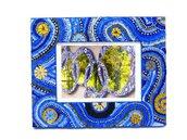 Cornice Porta Foto decorata in Mosaico nelle tonalità del Blu&Oro in Omaggio a Van Gogh