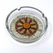Posacenere in Vetro o Ceramica con decoro in Mosaico Bronzo e Argento