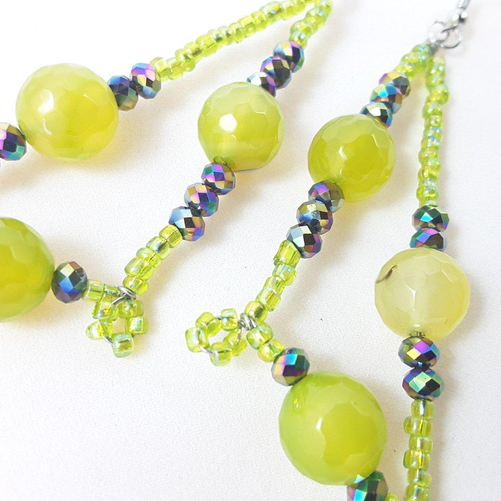 Orecchini verdi, agata, cristalli, wire, pezzo unico, oaak, modello originale, esclusivi, idea regalo, compleanno, natale, festa della mamma