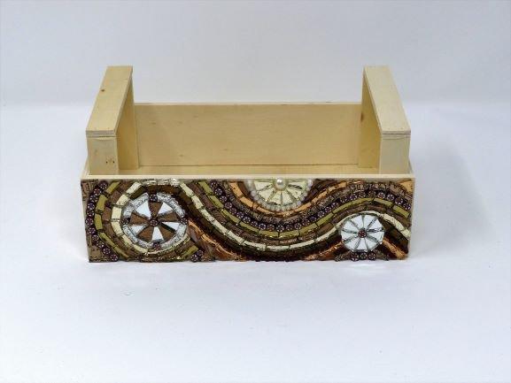 Cassetta in Legno con decoro in Mosaico color Bronzo e Argento