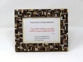 Cornice Porta Foto decorata in Mosaico sulle tonalità del Bronzo con texture Lineare