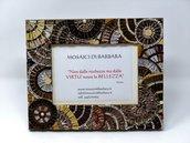 Cornice Porta Foto decorata in Mosaico nelle tonalità del Bronzo con texture circolare