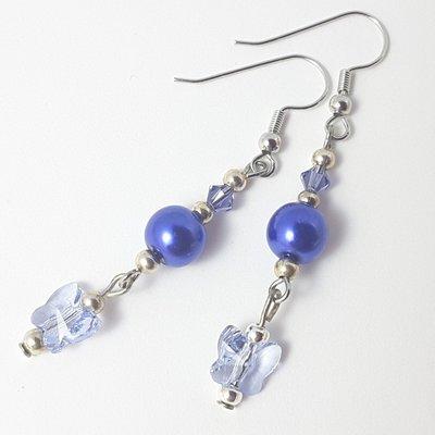 Cristallo swarovski, farfalle, Orecchini blu pendenti, pezzo unico, oaak, modello originale, idea regalo, compleanno, Natale, festa della mamma