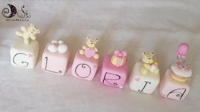 Cake topper cubi con orsetti in scala di rosa 6 lettere 6 cubi