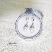 Orecchini con perle, orecchini a perno con cristallo di swarovski