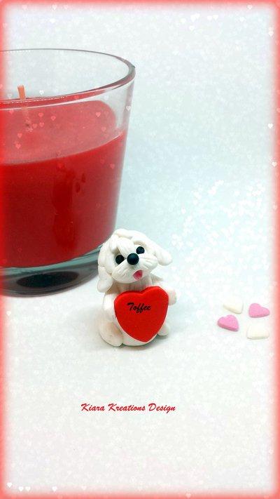 Decorazione con cane maltese con cuore personalizzato con il nome, idea regalo per san valentino per amanti dei cani