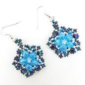Orecchini pendenti, turchesi, blu, cristalli, pezzo unico, modello originale, idea regalo, festa della mamma, compleanno, Natale, nichel free.