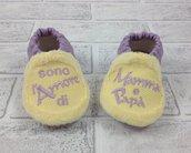 Scarpine ecopelle lilla e pile giallo ricamate - Bimba neonata 3/6 mesi
