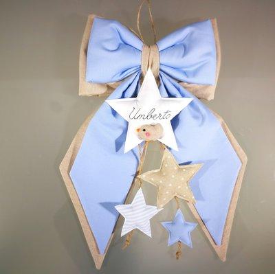 Fiocco nascita stelle bimbo bimba con uccellino