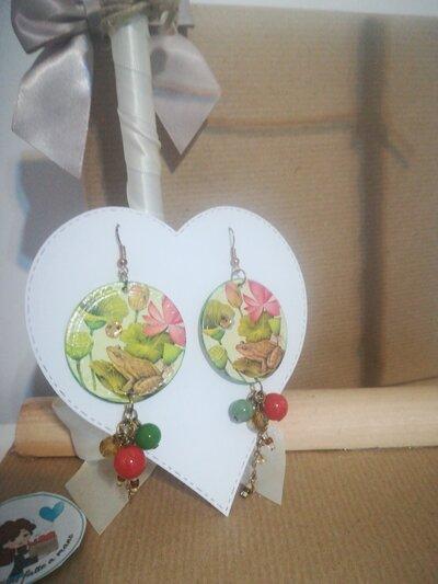 Orecchini carta Gioielli decoupage Rana Animali Idea regalo Personalizzabili
