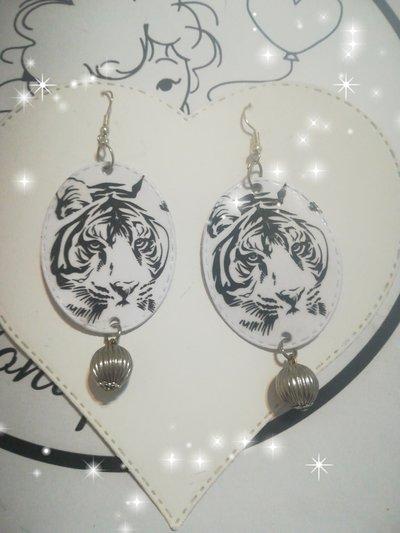 Orecchini carta Gioielli decoupage Animali Idea regalo Tigre Personalizzati