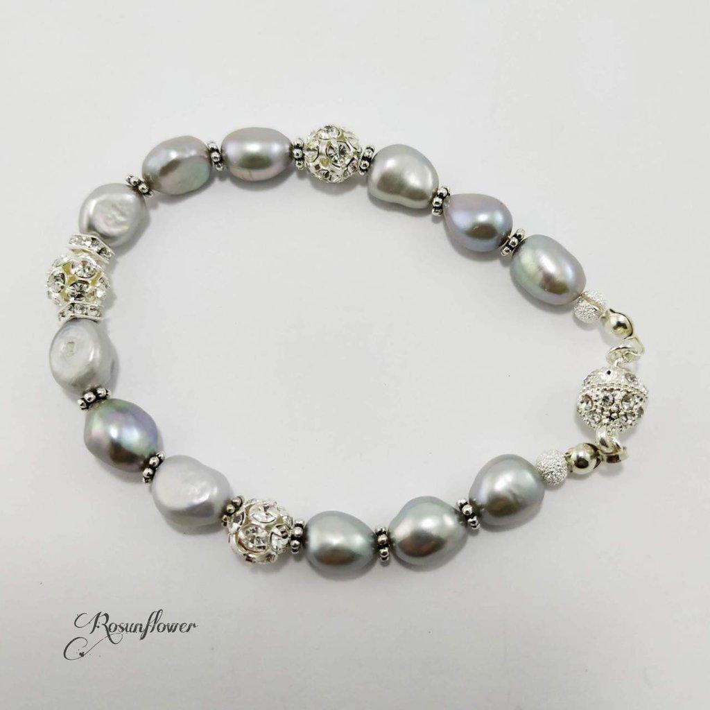 Bracciale perle di fiume, bracciale con perle d'acqua dolce grigio, bracciale donna, argento 925