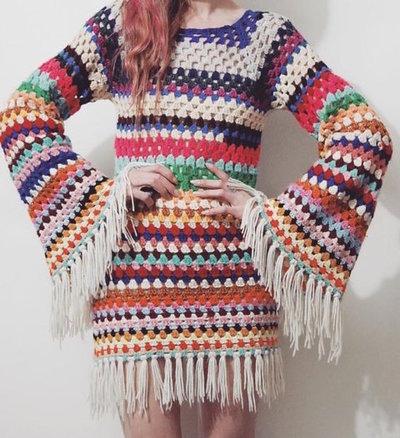 schema uncinetto abito arcobaleno