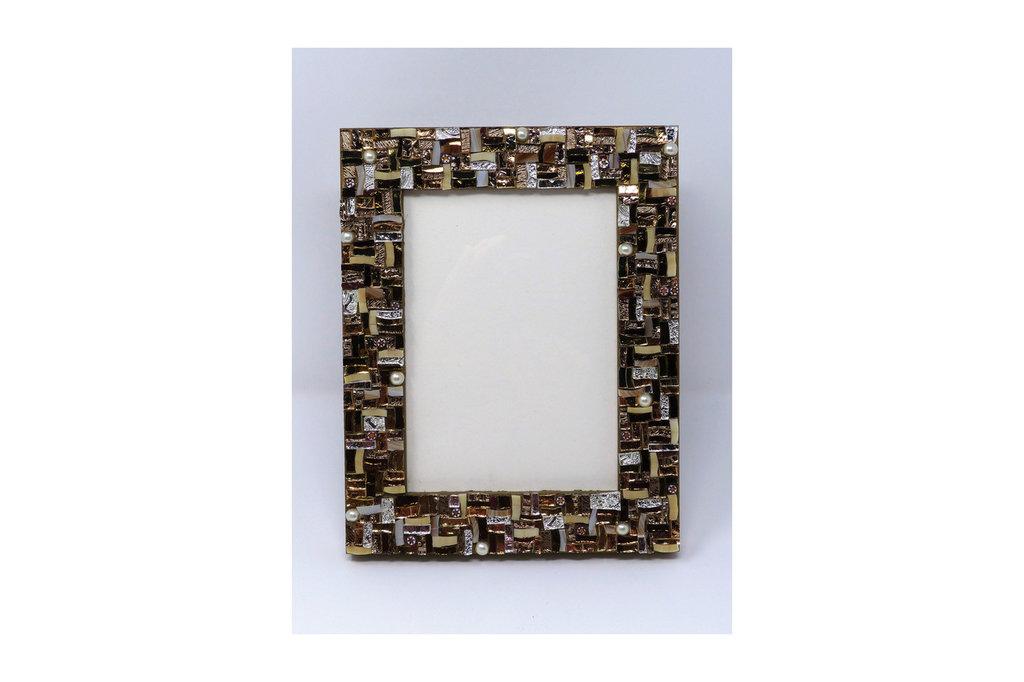 Cornice Porta Foto 13x18 cm decorata in Mosaico sulle tonalità del Bronzo con texture Lineare